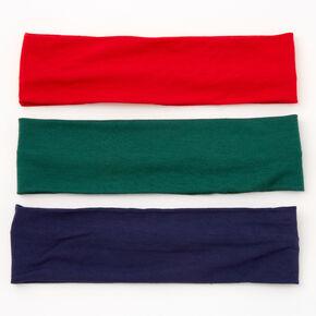 Bandeaux vert chasseur, bleu marine et rouge - Lot de 3,