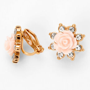 Gold Carved Rose Clip On Stud Earrings - Pink,