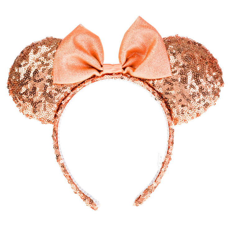 disney sequin minnie mouse ear bow headband rose gold claire 39 s. Black Bedroom Furniture Sets. Home Design Ideas