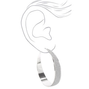Silver 60MM Half Glitter Hoop Earrings,