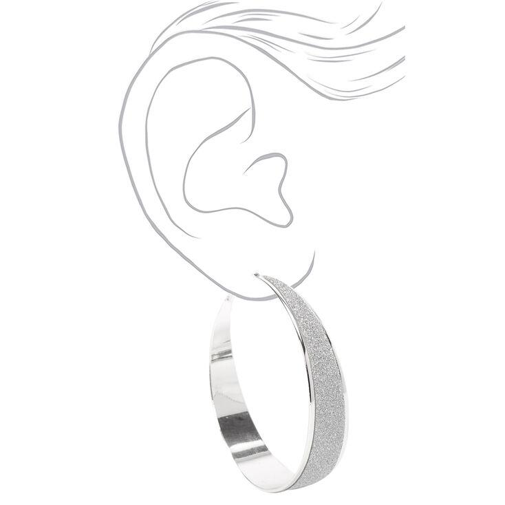 Silver 60MM Half Glitter Hoop Earrings,
