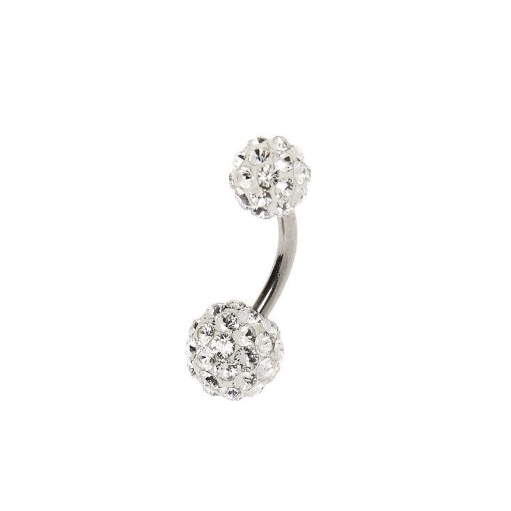 Silver 14G Swarovski® Crystal Fireball Belly Ring,