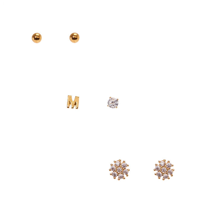 18kt Gold Plated M Initial Stud Earring Set