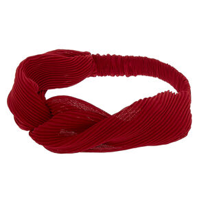 Pleated Twisted Headwrap - Burgundy,
