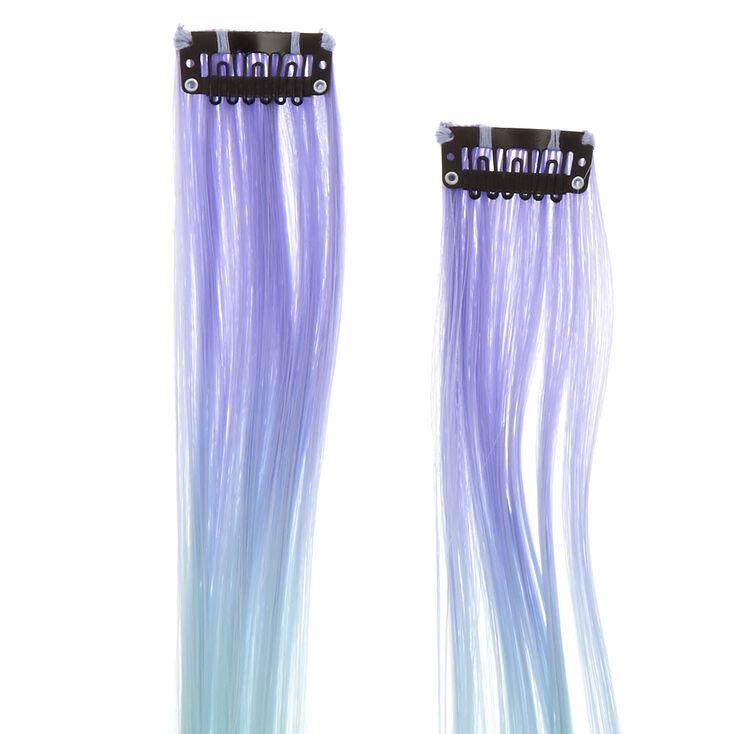 Extensions de cheveux synthétiques à clip avec dégradé bleu et rose pastel - Lot de 2,