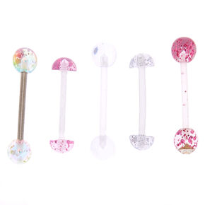 Lot de 5 barres de piercing de langue transparents à paillettes,
