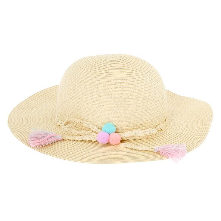 aa1245c5fa7 Claire  39 s Club Pom Pom Floppy Straw Hat ...