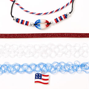 Red, White & Blue Cowrie Shell Mixed Bracelets - 5 Pack,