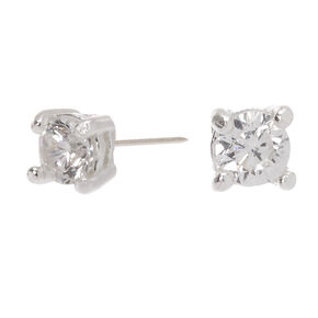 Sterling Silver Cubic Zirconia Round Stud Earrings - 2MM,
