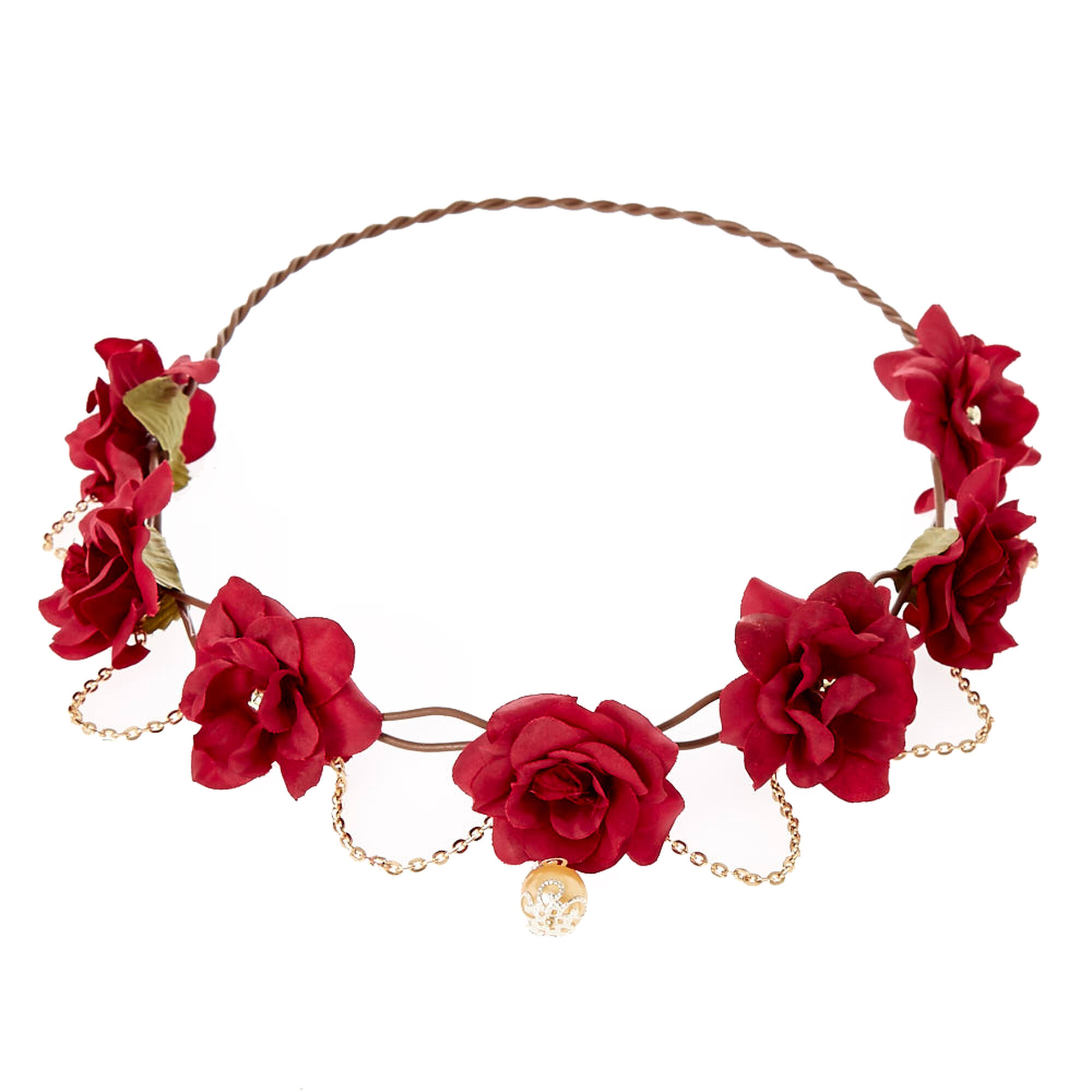 Gold chain burgundy flower crown headwrap claires gold chain burgundy flower crown headwrap izmirmasajfo Images