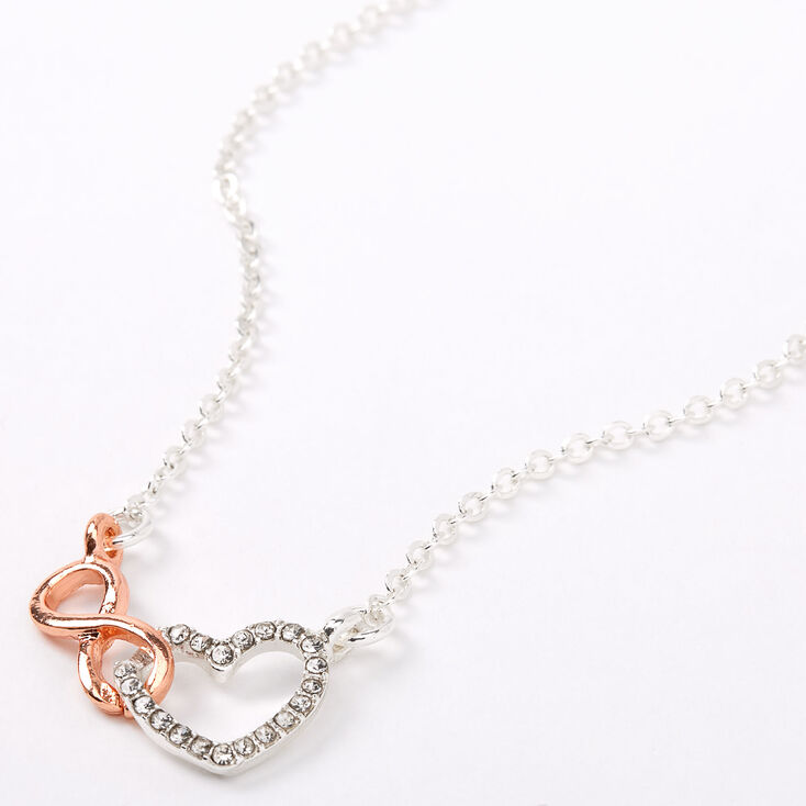 Silver & Rose Gold Infinity Loop Heart Pendant Necklace,