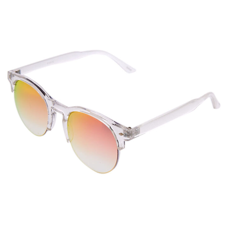 Round Mod Transparent Mirrored Sunglasses - Clear,