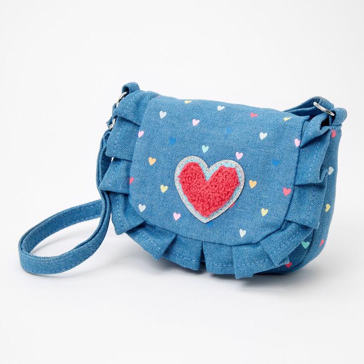 Claire's Club Ruffled Denim Heart Crossbody Bag - Blue,