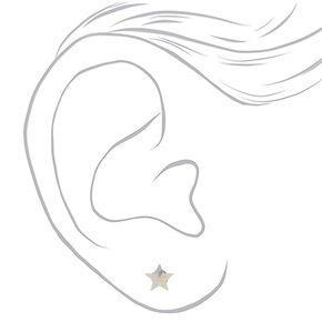 Boucles d'oreille en argent de 5mm avec strass en forme d'étoile,
