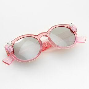 Claire's Club Unicorn Glitter Mod Sunglasses - Pink,