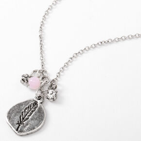 Silver Stamped Feather Stone Pendant Necklace,