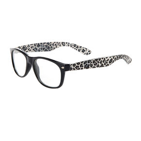 Claire's Club Leopard Print Rectangle Clear Lens Frames,