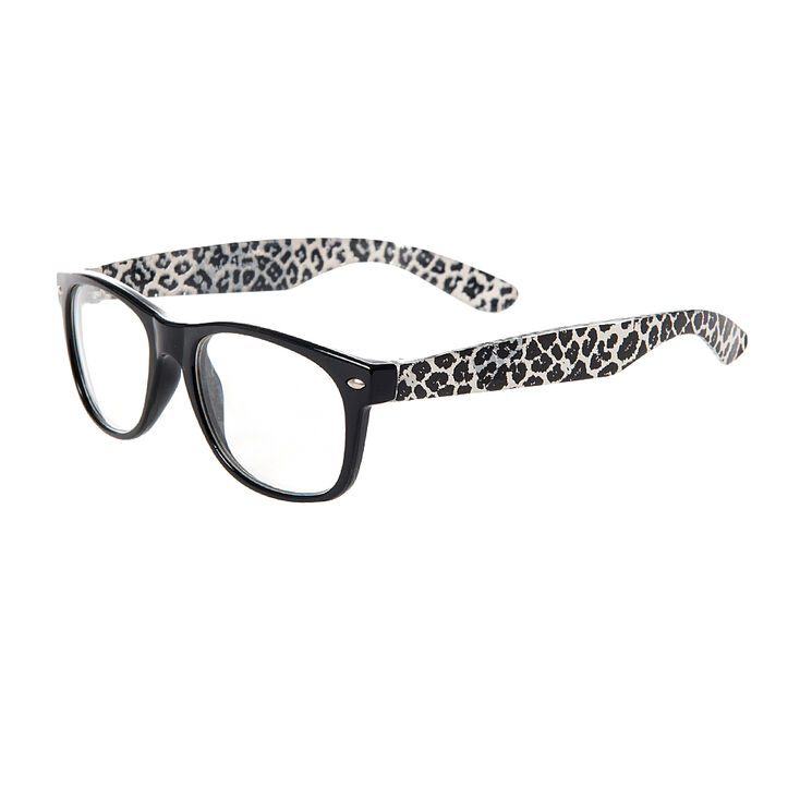 Claire's Club Leopard Print Rectangle Clear Lens Frames,
