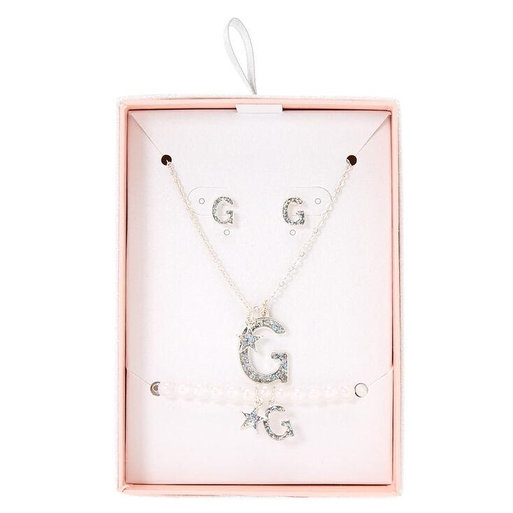Parure de bijoux avec initiale «G» à paillettes irisées couleur argentés,