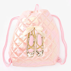 Claire's Club Ballet Slipper Drawstring Bag - Pink,