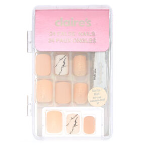 Matte Marble Square Faux Nail Set - Pink, 24 Pack,