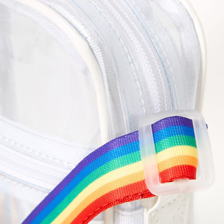 Sac à bandoulière transparent avec bandoulière arc-en-ciel - Transparent,
