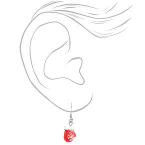"Silver 1"" Snowflake Mittens Drop Earrings - Red,"