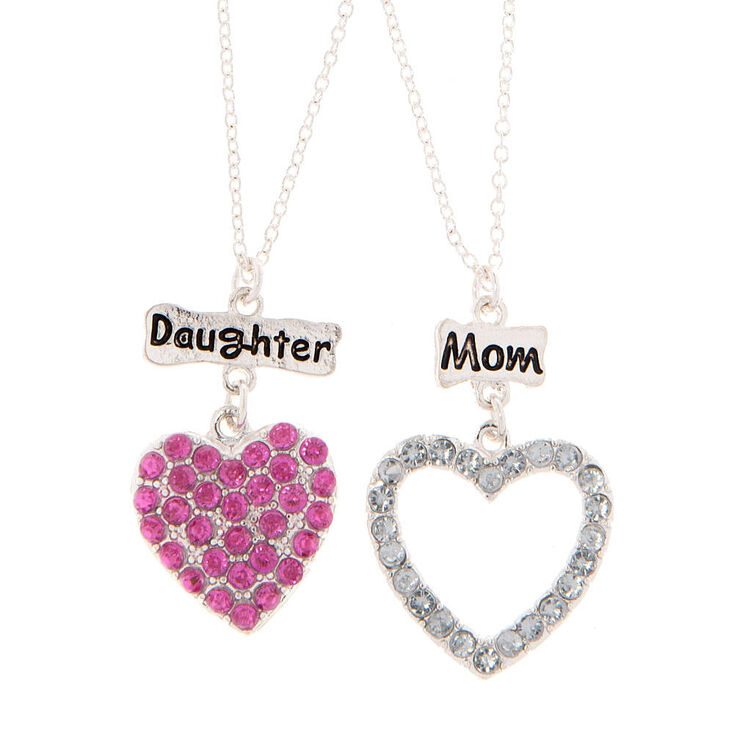 Mom daughter crystal heart pendant necklaces claires us mom amp daughter crystal heart pendant necklaces aloadofball Images