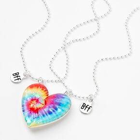 Best Friends Bright Tie Dye Split Heart Pendant Necklaces - 2 Pack,