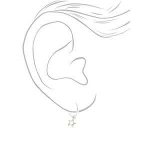 Sterling Silver 12MM Star Charm Hoop Earrings,