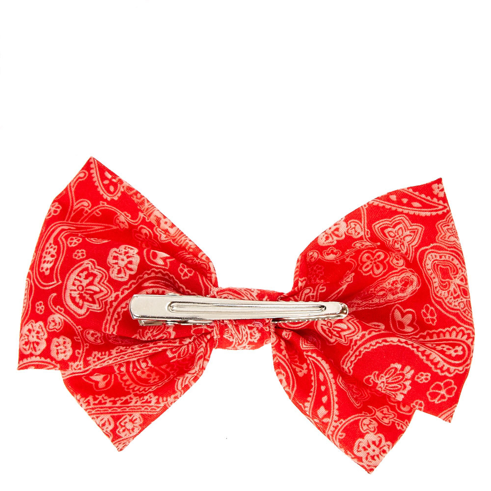 Red Bandana Double Bow Hair Clip Claire S Us