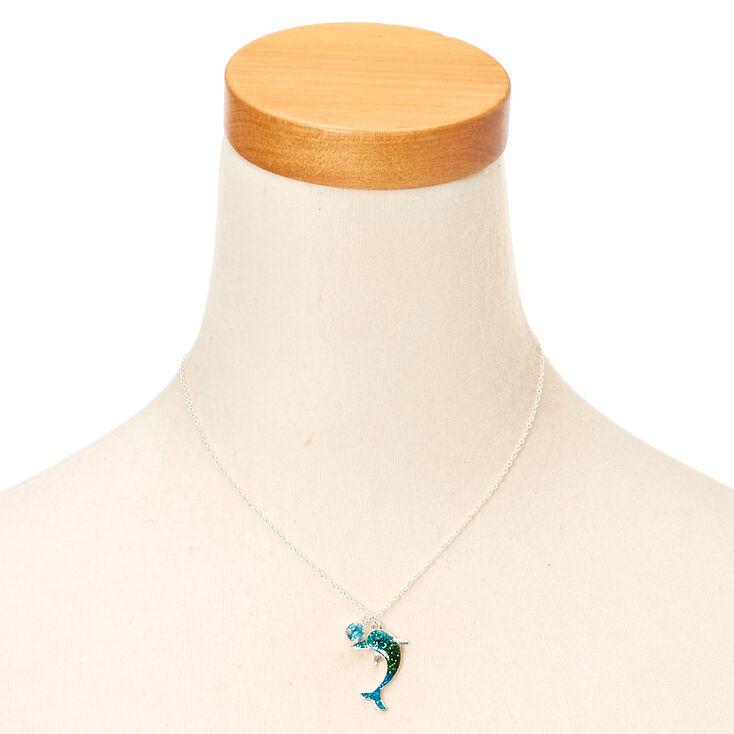 Silver Ombre Glitter Dolphin Pendant Necklace - Blue,