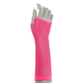Hot Pink Fishnet Mesh Arm warmers,