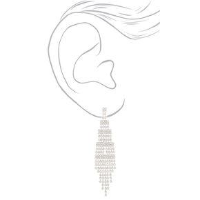 """Silver Rhinestone 3"""" Skyscraper Drop Earrings,"""