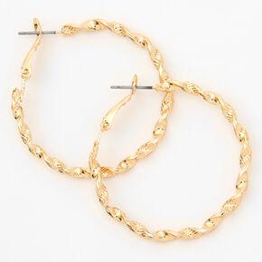 Gold 40MM Twisted Hoop Earrings,