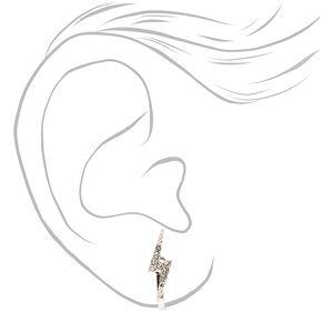 Clous d'oreilles à clip éclair strass couleur argentée,