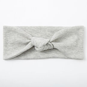 Ribbed Knotted Headwrap - Light Grey,