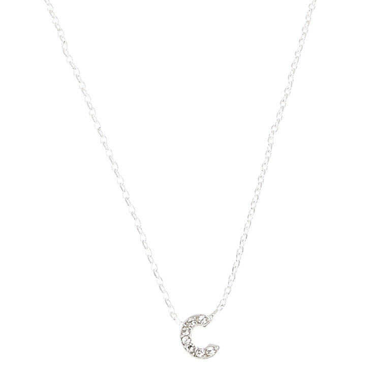 Silver Embellished Initial Pendant Necklace - C,