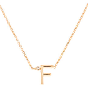 Gold Stone Initial Pendant Necklace - F,