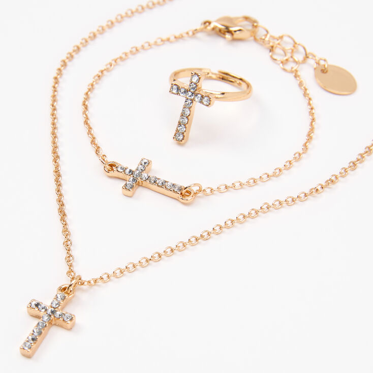 Claire's Club Gold Embellished Cross Jewelry Set - 3 Pack,