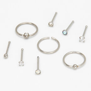 Silver 20G Assorted Nose Studs & Rings - 9 Pack,
