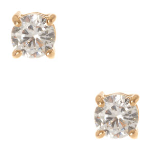 Gold Cubic Zirconia Round Stud Earrings - 5MM,