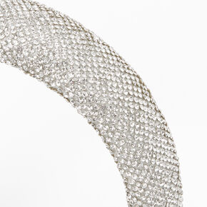 Rhinestone Puff Headband - Silver,