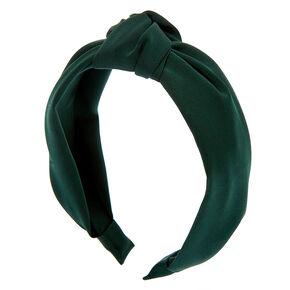 Serre-tête noué satiné - Vert émeraude,