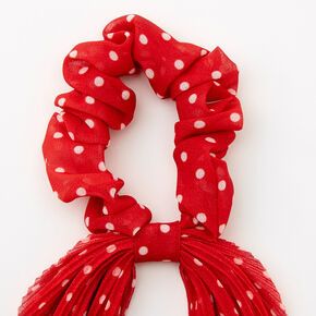 Small Polka Dot Pleated Scarf Hair Scrunchie - Red,
