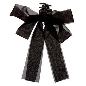 Ribbon Bow Hair Claw - Black,