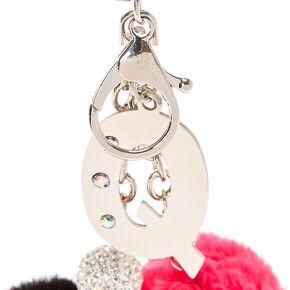 Porte-clés à pompons rose et noir avec initiale «Q»,