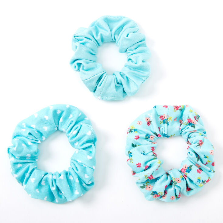 Claire's Club Small Floral Heart Hair Scrunchies - Mint, 3 Pack,