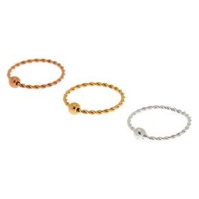 Sterling Silver 22G Twisted Cartilage Hoop Earrings - 3 Pack,