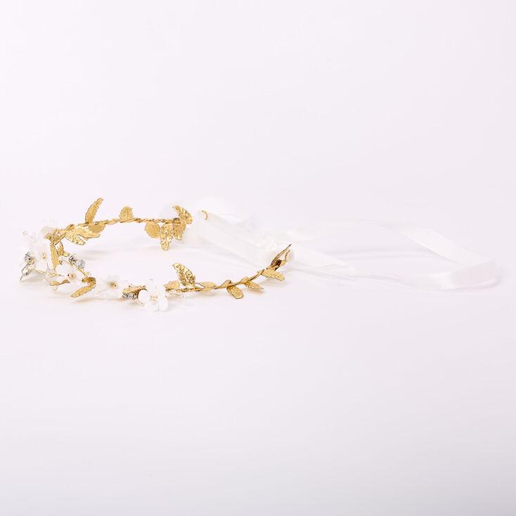 Gold Metallic Flower Crown Tie Headwrap - White,